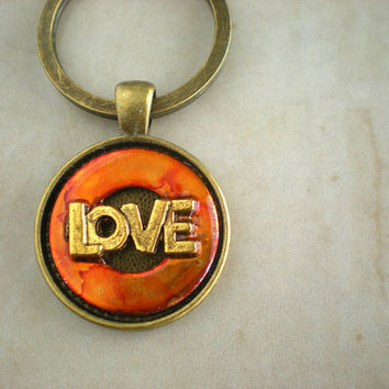 Love Keychain - Orange - Keyring - Hippie Keychain - Orange Keychain - Unique Keychain - Upcycled Keychain