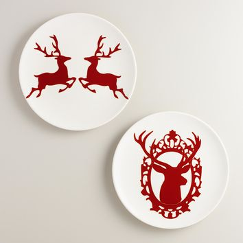 Stag Silhouette Salad Plates, Set of 4