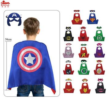 D.Q.Z L 20* Kids Superhero Costume  Satin Capes with Felt Masks for Child Gift Toys Character Costume Party Hero Cosplay