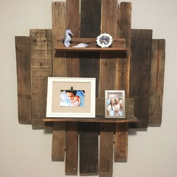 Pallet wood wall feature with shelves