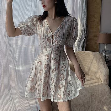 New sexy skirt female tide temperament slim lace perspective V-neck dress