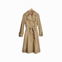 Vintage 80s Tan Trench Coat - women's small