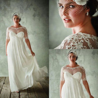 White/Ivory Long Chiffon Plus Size Boho Wedding Dress with Half Sleeves Bridal