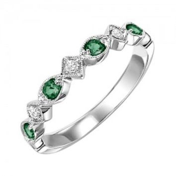 10k white gold diamond and emerald birthstone ring