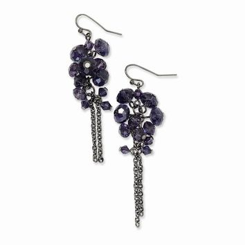 Black-plated Purple Crystal Bead Cluster Drop Earrings