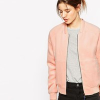 Gsus Sindustries Thun Pink Textured Bomber Jacket at asos.com