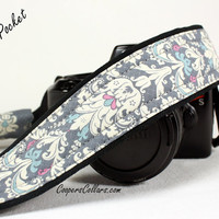 Grey Damask Camera Strap, Pocket,  dSLR,  SLR