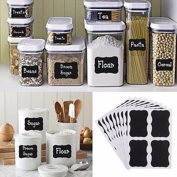 36PCS/Set Blackboard Chalk Pen Stickers Craft Kitchen Jar Organizer Bottle Labels Decor Memo Pad Sticky Chalkboard Sticker Label