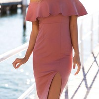 Streetstyle  Casual Pink Plain Off-Shoulder Peplum Site Slit Homecoming Cute Mini Dress