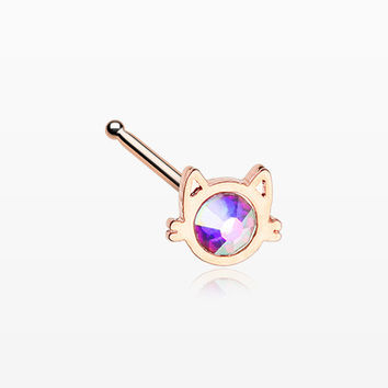 Rose Gold Adorable Cat Face Iridescent Sparkle Nose Stud Ring