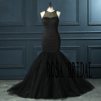 Black Mermaid Wedding Dress Beading Prom Dress Bridal Prom Dress Custom Size