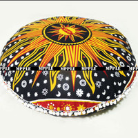 Sun Mandala Ottomans Poufs Home Decor Pom Pom Tasse Pillow cotton Cushion Cover