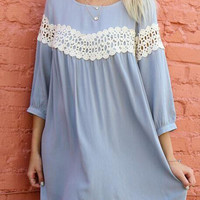 Blue Crochet Lace Detail Chiffon Shift Dress