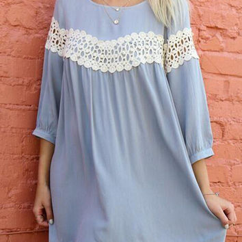 Blue Crochet Lace Detail 3/4 Sleeve Chiffon Shift Dress
