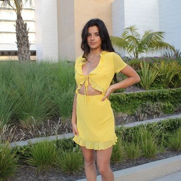 Yellow Polka Dot Tie Dress