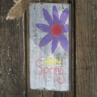 Small Rustic Hand Painted Happy Spring Sign