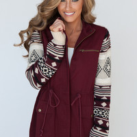 Sweater Sleeves Cinched Zip Up Jacket - Wine