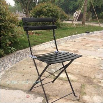Outdoor leisure Iron Balcony chairs Coffee table Folding Garden Chair