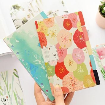 A5 A6 5sheet Flower Colored Delicate Art Paper Planner Index Page Beautiful Retro Planner Inner Slip Sheet Binder Category Paper