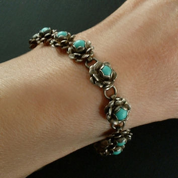 "OLD PAWN Vintage Native American Turquoise BRACELET Navajo Flower Sterling Silver Hallmarked, Size 6-3/8"" c.1940s"