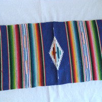 Serape table runner/ vintage woven Mexican table runner/ blue striped table runner with fringe/ southwestern boho bohemian decor