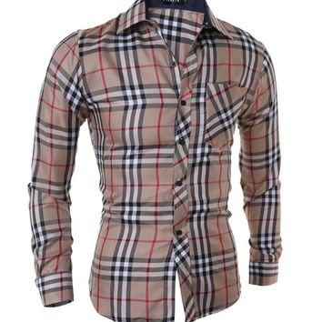 Streetstyle  Casual Classic Plaid Mens Shirt
