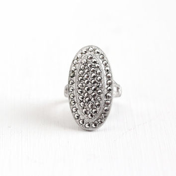 Vintage Art Deco Sterling Silver Marcasite Ring - Size 5 1930s 1930s Statement Oval Shield Open Metal Cocktail Dinner Jewelry