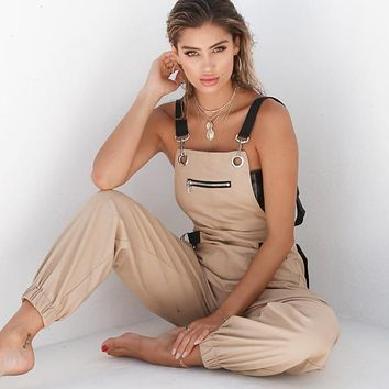Swagger Dynasty New Fashion High Waist Overalls Casual Cargo Pants Ladies Strap Elegant Pants