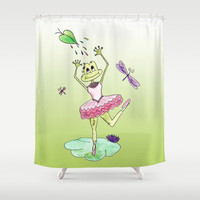 Cute Dancing Frog Shower Curtain - Lillie Dance's in the Rain - original, unique, bathroom, decor, kids, girls