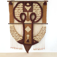 XL Boho Textile Wall Hanging / Vintage Don Freedman Fiber Art Crafted from Jute, Wood, Cotton / Earth Tones / Macrame / Statement Wall Art