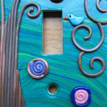 """Polymer Mosaic and Filigree Double Light Switch Switchplate """"Northern Lights"""" Folk Art Tree in blue, green, brown and multi by Colorful Clay"""