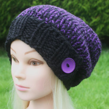 Knit Hat- Women's Hat- Slouchy- Beanie Hat- Black and Purple with Purple wooden button- winter hat