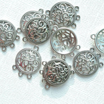 10 piece Tibetan Style Flat Round Chandelier dangle dream catcher Components, Antique Silver Jewelry Earrings Necklace making findings DIY