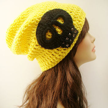 FREE SHIPPING - UNISEX Ultimate Rocker Skull Slouchy Crochet Beanie - Bright Yellow with Black Skull and Gun metal studs