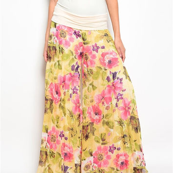 Flower printed Wide-leg pants