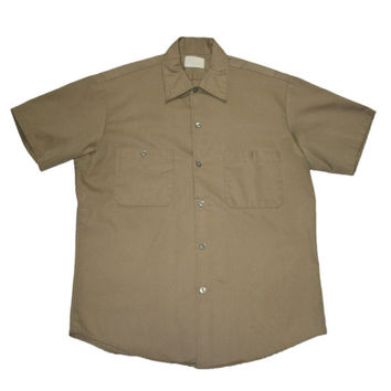 Vintage Khaki Military Button Up Shirt Mens Size Medium