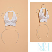 Vintage 1950s Retro White Halter Cropped Top with Back Tie