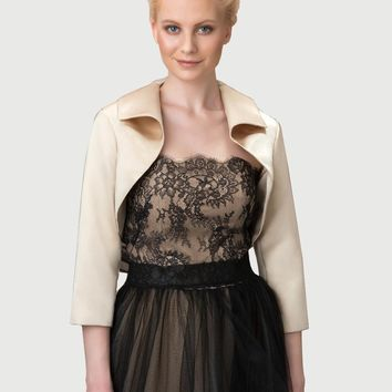In Stock Wedding Accessory Satin and LACE Appliques Custom Made Long Sleeve Bridal Wedding Bolero Jacket Shrug Wraps WJ30