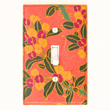 Peach Orange Light Switch Cover - Yellow, Purple, Green and Gold Decorative Wallplate - Master Bedroom Decor Switchplate - Girls Room Decor
