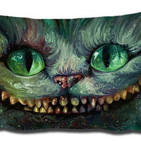 New Arrival Alice in Wonderland Pussy Background Pattern Animation Pillow Cover Rectangle Throw Pillowcase Zippered Cover