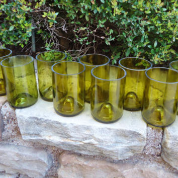 Recycled Chartreuse Wine Bottle Glasses made from Yellow Wine Bottles 12oz  Set of 12