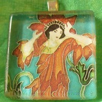 Woman in Red Glass Pendant