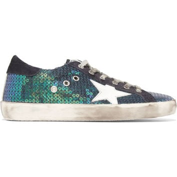Golden Goose Deluxe Brand - Super Star distressed sequined canvas and suede sneakers