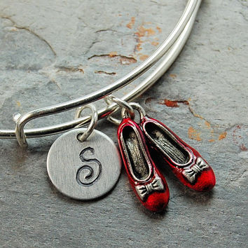 Ruby Red Slipper Initial Bangle, wizard of oz charm, Charm bangle, Expandable bangle, Personalized bracelet, Monogram, stamped bracelet