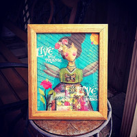Live with promise..... love with passion angel in wooden tabletop frame