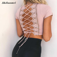 Women Tops Sexy Strappy Lace up Bustier Crop Tops 2017 Camis Hollow Cut Out Backless Short Brand Fitness V neck Beach Crop Tops