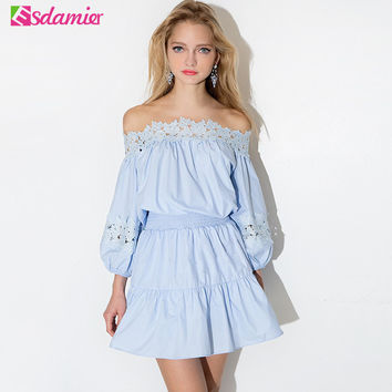 Hot Sale Summer Dress Kawaii Off Shoulder Tunic Women Dresses Big Sizes Long Sleeve Lace Vestidos Sexy Sundress Robe Femme