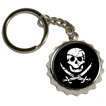 Pirate Skull Crossed Swords Pop Cap Bottle Opener Keychain