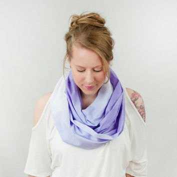 Infinity Scarf Purple Ombre Lilac Periwinkle Hand Dip Dyed Cotton Lightweight Spring Circle Fashion
