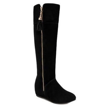 Black Zippered Knee-High Boots With Tassel